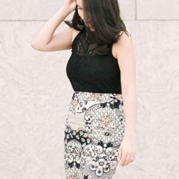 Printed Pencil Skirt by THE BLUSH DIARIES